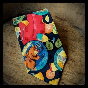 Nicole Miller 1990 cheese and wine Vintage Tie